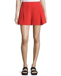 Derek Lam 10 Crosby Sailor Mid Rise Shorts W Beaded Trim Red