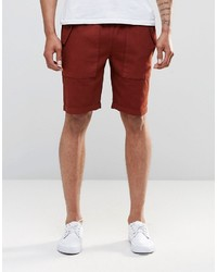 Asos Slim Shorts With Cargo Pockets In Rust