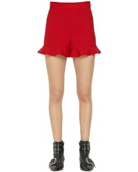 RED Valentino Stretch Cady Ruffle Hem Shorts
