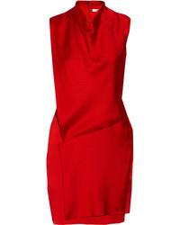 Draped hammered stretch silk mini dress medium 121093