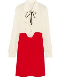 Miu Miu Ruffled Silk Crepe De Chine Mini Dress Red