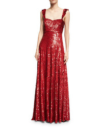 Valentino Sleeveless Sequined Silk Sweetheart Gown Red