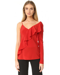 Asymmetrical sleeve ruffle front blouse medium 3641353