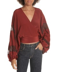 Elizabeth and James Elizabeth James Talia Puff Sleeve Silk Wrap Blouse