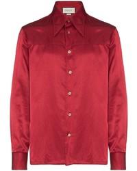 Red Silk Long Sleeve Shirt