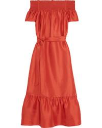 Tory Burch Ramona Off The Shoulder Slub Silk Midi Dress Tomato Red