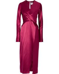 Wrap effect silk satin and crepe de chine midi dress medium 6720011