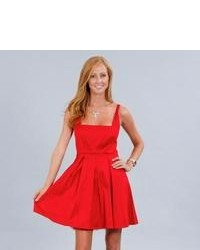 Wishes Juniors Red Square Neck Sleeveless Party Dress