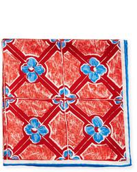 Kiton Flower Diamond Silk Pocket Square Red