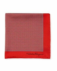Salvatore Ferragamo Gancini Silk Twill Pocket Square