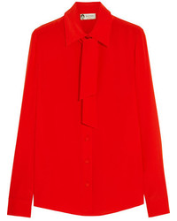 Lanvin Pussy Bow Silk Crepe De Chine Shirt Red