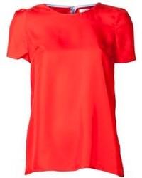 Red Silk Short Sleeve Blouse