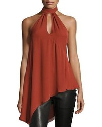 Haute Hippie Fly Away Halter Silk Wrap Top
