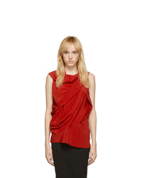 Rick Owens Red Silk Knot Tank Top