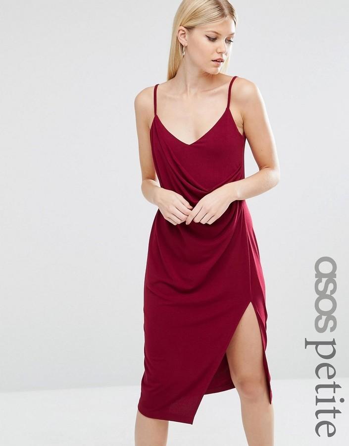effbcc198449 Asos Petite Petite Crepe Wrap Midi Slip Dress, $17   Asos ...