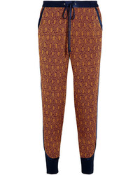 3.1 Phillip Lim Silk Satin Trimmed Jacquard Tapered Pants Brick