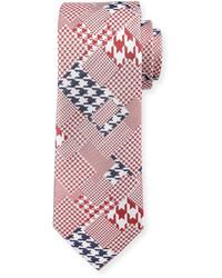 Robert Graham Crowdy Patchwork Silk Tie Red