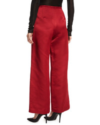 The Row Strom Silk Satin Wide Leg Pants