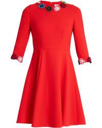 Mary Katrantzou Cooper Guipure Lace Wool Crepe Skater Dress
