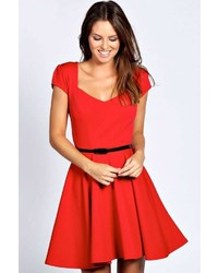 Boohoo Lara Sweetheart Neck Skater Dress