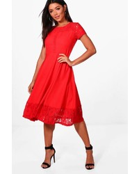 Boohoo Laura Lace Panelled Cap Sleeve Skater Dress