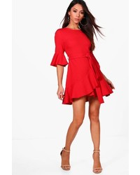 Boohoo Petite Laura Frill Sleeve Wrap Skater Dress