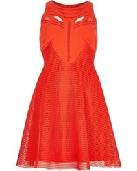 Red mesh cut out skater dress medium 599724