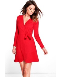 ... Boohoo Suzannah Tie Wrap Skater Dress 8c9e506c8
