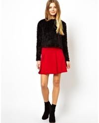 Asos Box Pleat Skater Skirt In Ponte
