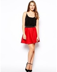 AX Paris Skater Skirt In Ripple Fabric Red