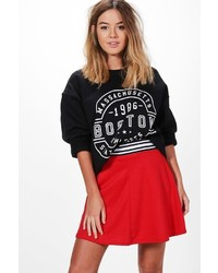 Boohoo Petite Melissa Sports Trim Skater Skirt