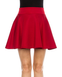 Red Solid High Waisted Skater Skirt