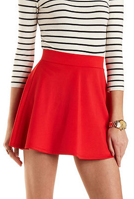 727586ea $16, Charlotte Russe Solid High Waisted Skater Skirt