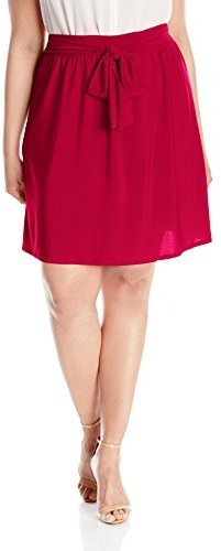 50d1aacce Star Vixen Plus Size Knee Length Full Skater Skirt With Self Tie Bow ...