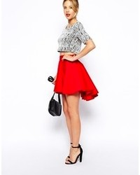 Asos Volume Skater Skirt With Extreme Dip Back Red