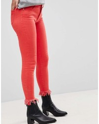 Only Colored Skinny Jean With Frayed Hem