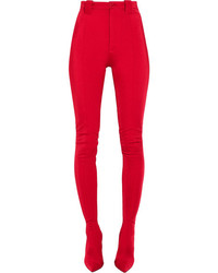 Stretch satin skinny pants red medium 3773360
