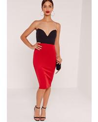 Missguided Scuba Midi Skirt Red
