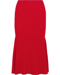 Victoria Beckham Ribbed Wool Blend Midi Skirt Red