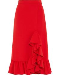 MSGM Ruffled Crepe Midi Skirt Red