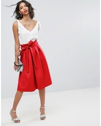 Asos Scuba Prom Skirt With Paperbag Waist