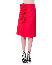MSGM Stretch Crepe Ruffle Trim Midi Skirt Red