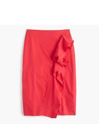 J.Crew Tall Ruffle Skirt In Cotton Poplin