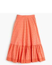 J.Crew Tiered Midi Skirt In Eyelet Poplin
