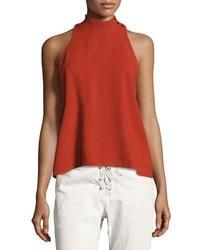 Olympia mock neck sleeveless top brick medium 3680266