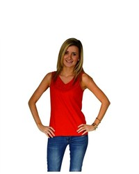 Spectra Design Red Cable Laced Size Sleeveless Top