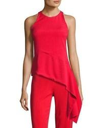 Stretch crepe sleeveless top with asymmetric hem red medium 4106390