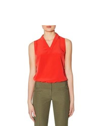 The Limited Sleeveless Mini Shawl Collar Top Red Xs