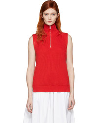 Maison Margiela Red Ribbed Turtleneck