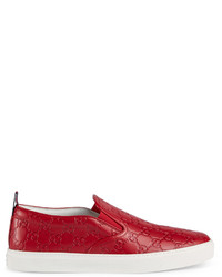 Gucci Leather Slip On Sneaker With Bees